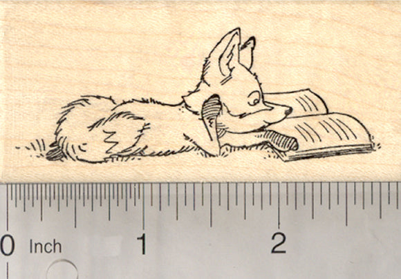 Reading Fox Rubber Stamp, Kits and Kids Need to Read, Educational Series