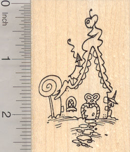Gingerbread House Rubber Stamp, with Witch, Fairy Tale, Hansel and Gretel Series