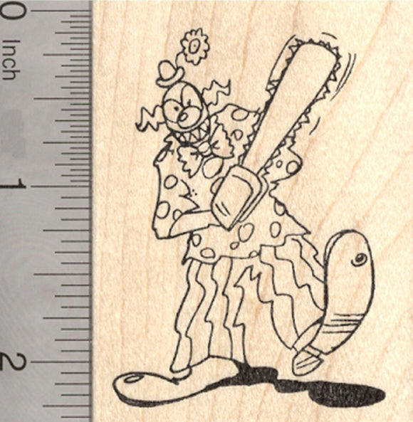 Evil Clown Rubber Stamp, Halloween Demon with Chainsaw
