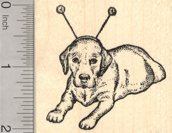 Labrador Retriever Dog Rubber Stamp, Halloween Alien Antenna