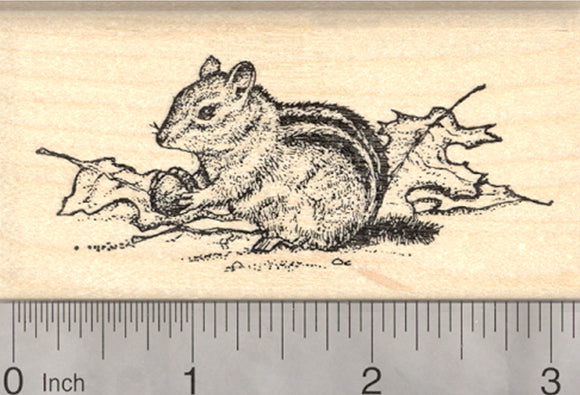 Chipmunk Rubber Stamp, Gathering Acorns in Autumn Leaves, Fall Harvest
