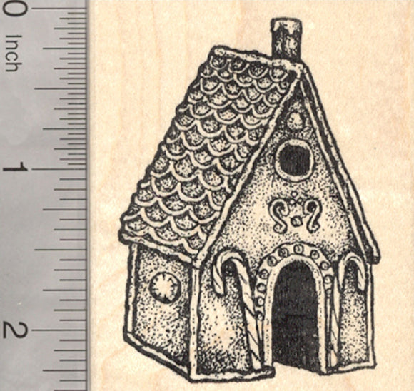 Gingerbread House Rubber Stamp, Christmas Confection, Fairy Tale Witch Home