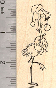 Christmas Flamingo Rubber Stamp, Tropical Holiday, with Wreath