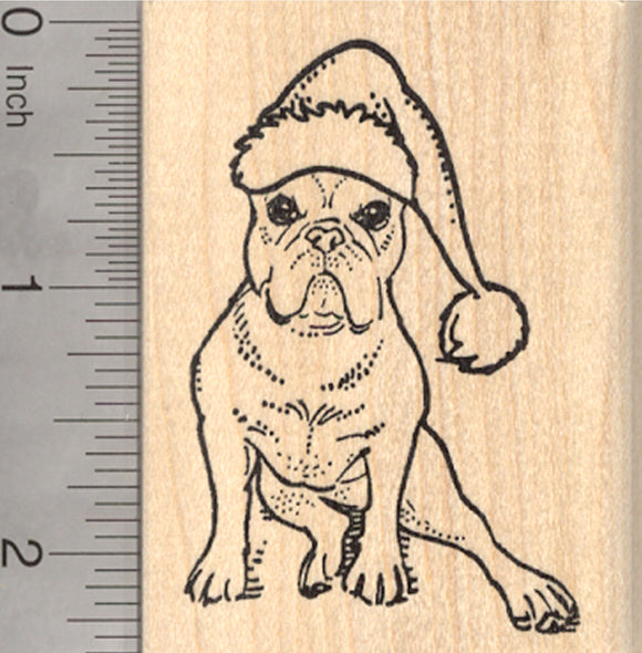 Christmas French Bulldog Rubber Stamp, Dog in Santa Hat