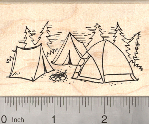 Campsite Rubber Stamp, Tents, Campfire, Camping in the Forest