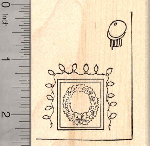 Christmas Doggie Door Rubber Stamp, with Dog Bone Wreath