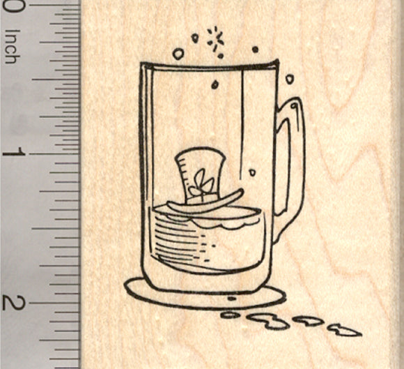 St. Patrick's Day Leprechaun Rubber Stamp, Beer Glass with Hat and Footprints