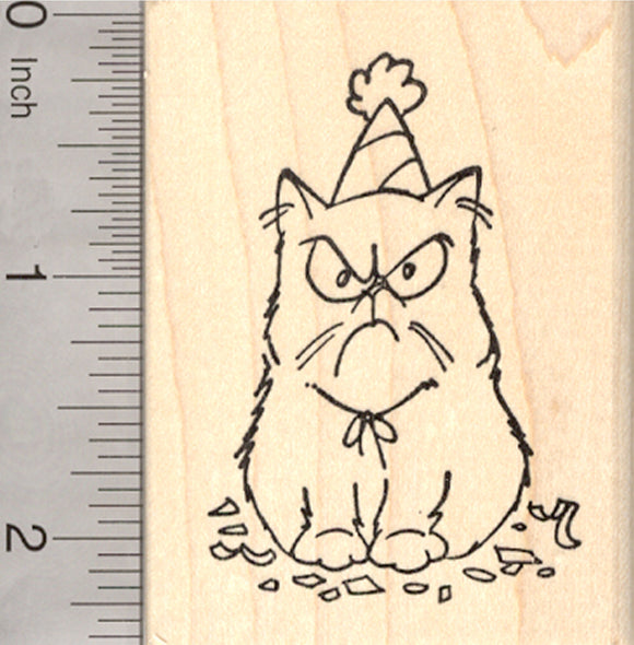 Birthday Grumpy Cat Rubber Stamp, in Party Hat