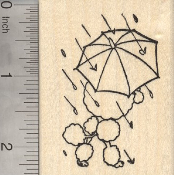 Poodle with Umbrella Rubber Stamp, Spring Showers, Step in a Puddle