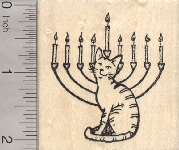Hanukkah Cat Rubber Stamp, with Menorah, Chanukah