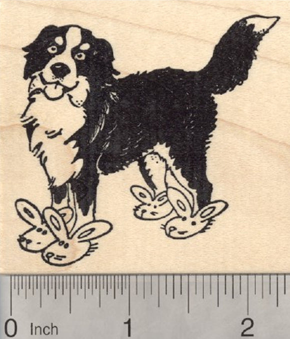 Easter Bernese Mountain Dog Rubber Stamp, Bunny Slippers
