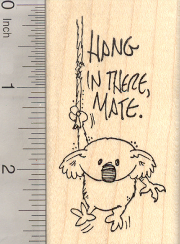 Koala Bear Rubber Stamp, Hang in There Mate