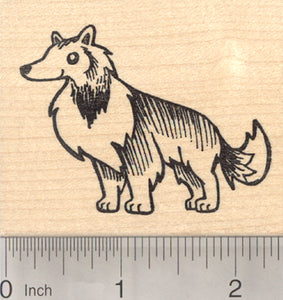 Rough Collie Rubber Stamp, Shetland Sheepdog, Dog