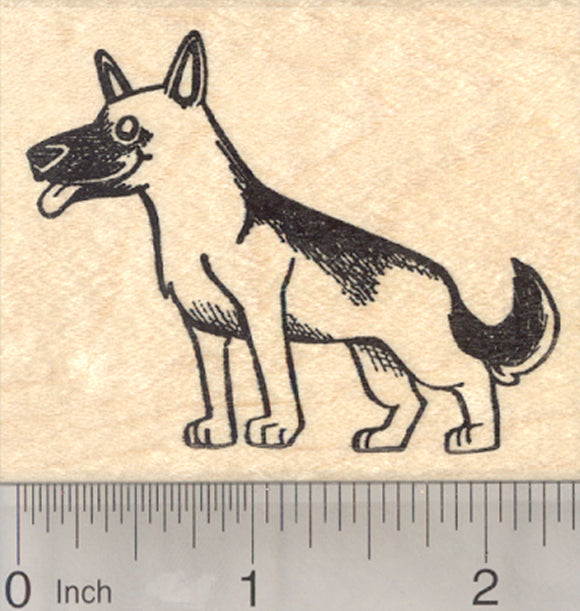 German Shepherd Dog Rubber Stamp, Alsatian Wolf