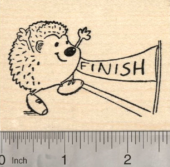 Running Hedgehog Rubber Stamp, At the Race Finish Line