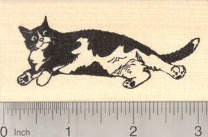 Black and White Cat Rubber Stamp