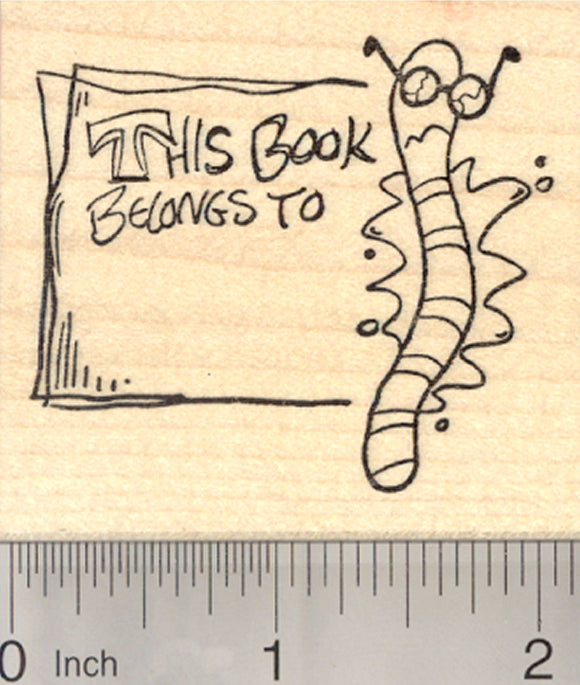 Smashed Bookworm Bookplate Rubber Stamp