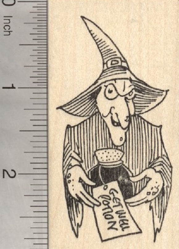 Halloween Witch Rubber Stamp, Get Well Potion