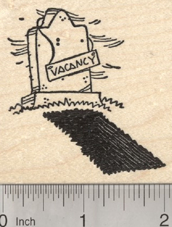 Halloween Grave Rubber Stamp, Cemetery Vacancy