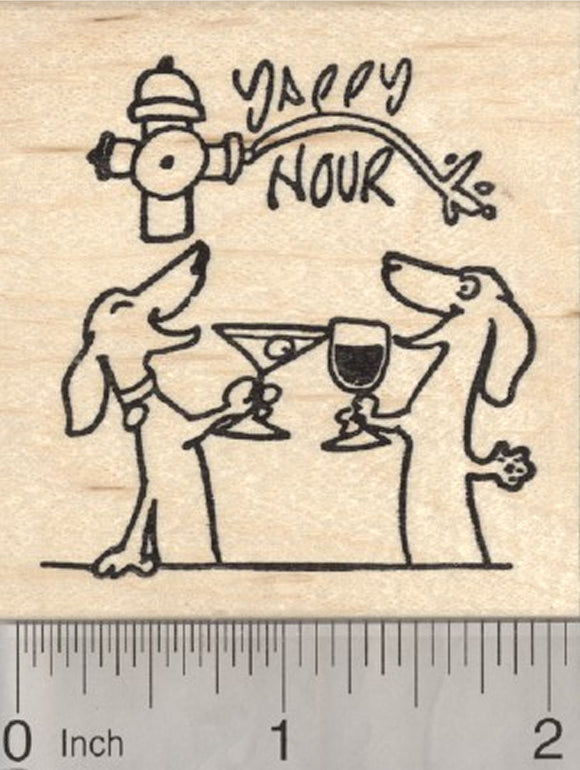 Yappy Hour Dog Rubber Stamp, Dachshunds with Cocktails