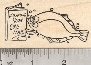 Valentines Day Fish Rubber Stamp, Find your Sole Mate