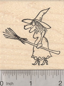 Halloween Witch Rubber Stamp, with Broom