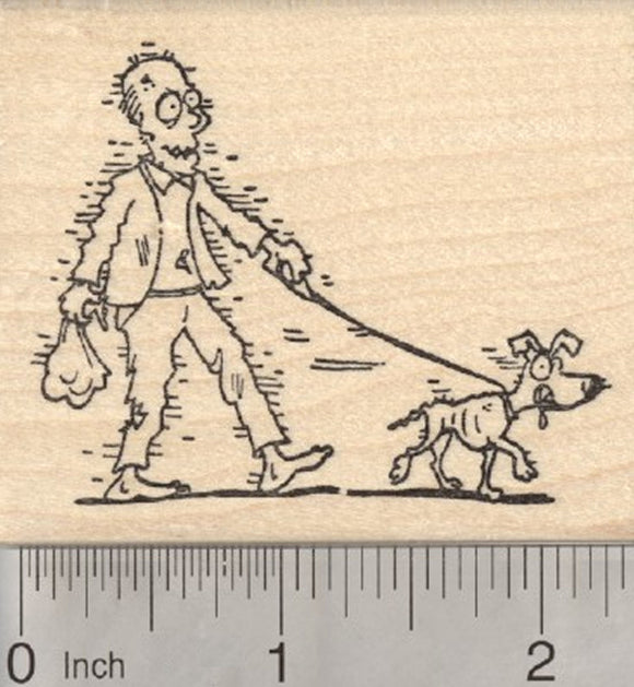 Halloween Zombie Rubber Stamp, Dog Walker