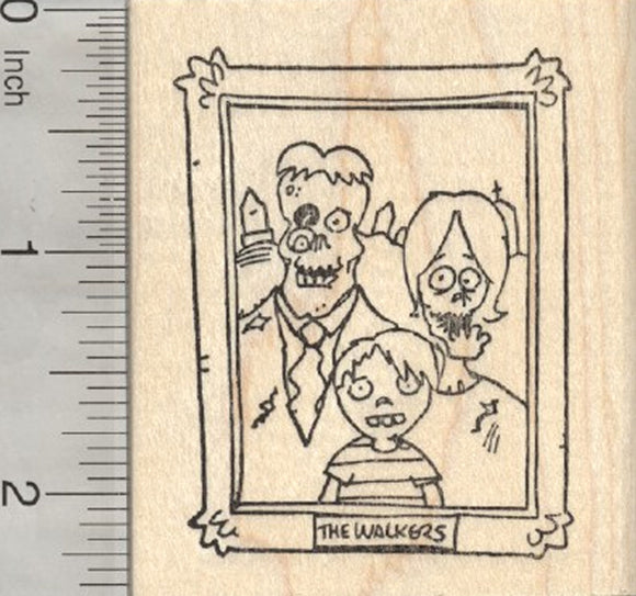 Halloween Zombie Rubber Stamp, Portrait of the Walkers