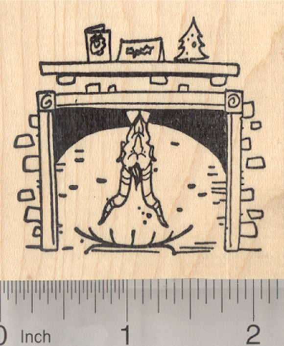 Krampus in Fireplace Rubber Stamp, Christmas
