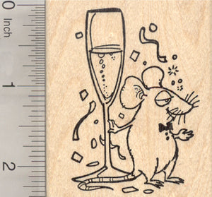 New Year Mouse with Champagne Rubber Stamp, Celebrating