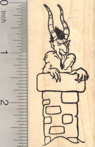 Krampus in Chimney Rubber Stamp, Christmas
