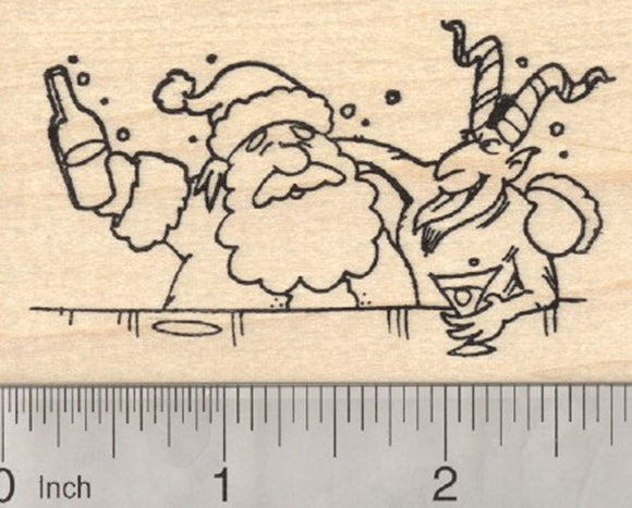 Christmas Krampus Rubber Stamp, Having drinks with Santa Claus