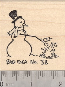 Campfire Snowman Rubber Stamp, Bad Idea No. 38, Toasting Marshmallows