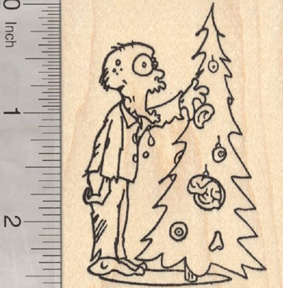 Zombie Christmas Rubber Stamp, With Tree