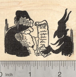 Christmas Krampus Rubber Stamp, Buying Naughty List from Santa