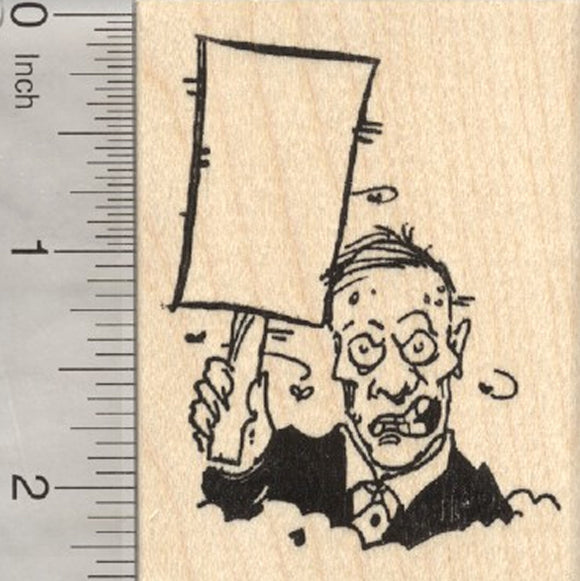 Zombie Rubber Stamp, Holding Blank Sign