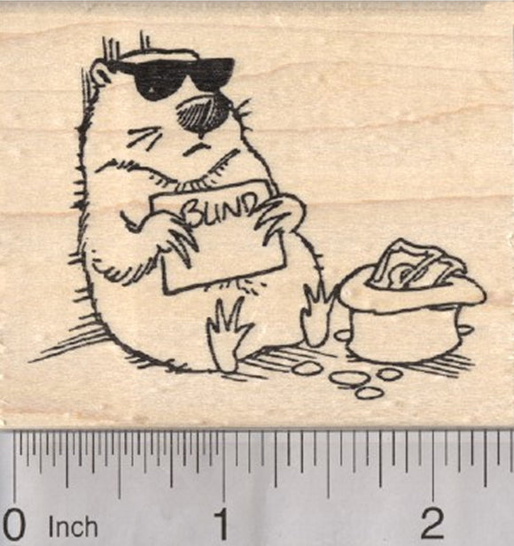 Groundhog Day Rubber Stamp, Blind with Sunglasses