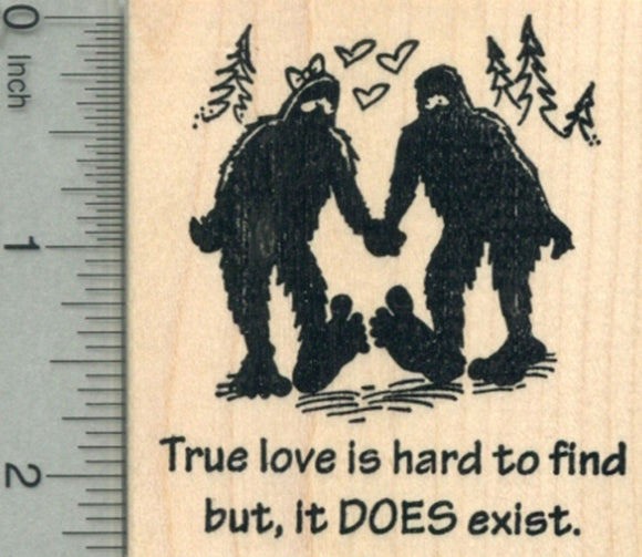 Valentine's Day Bigfoot Rubber Stamp, True Love Does Exist, Sasquatch
