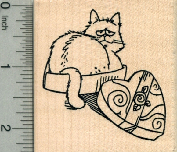 Valentine's Day Cat Rubber Stamp, if I fits, I sits in Chocolate Box