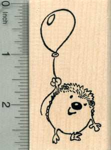 Hedgehog with Balloon Rubber Stamp, Party Series