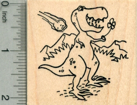 Lucky T-Rex Rubber Stamp, Saint Patrick's Day Dinosaur Four Leaf Clover