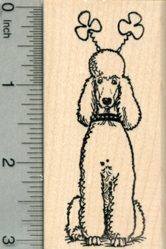 Saint Patrick's Day Poodle Rubber Stamp, Dog with Shamrock Antennae
