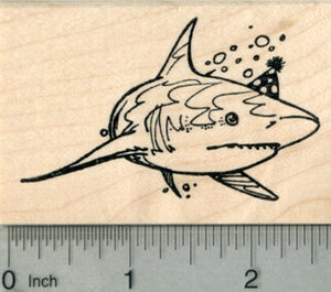 Birthday Shark Rubber Stamp, Great White in Party Hat