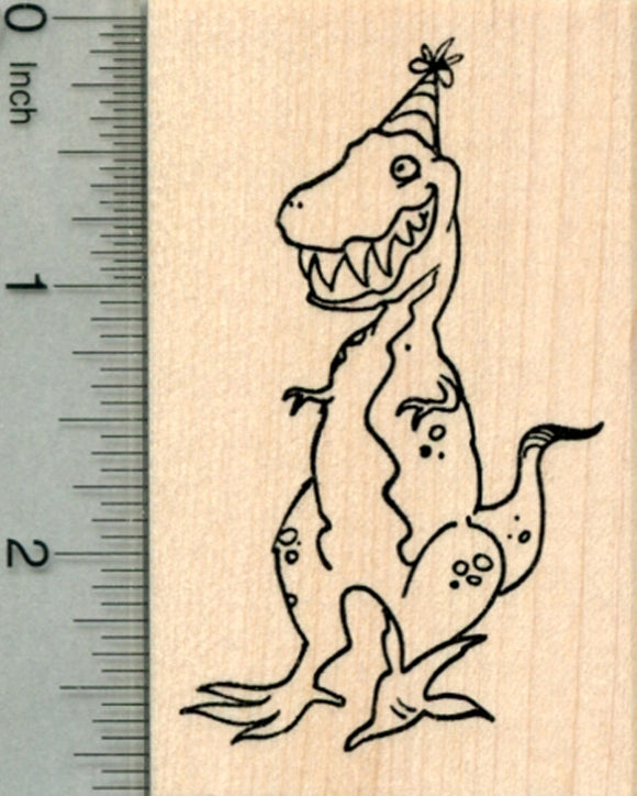 Party Crashing T-Rex Rubber Stamp, Grinning Tyrannosaurus in Hat