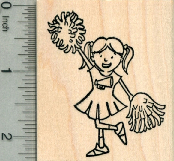 Cheerleader Rubber Stamp, Girl with Pom Poms