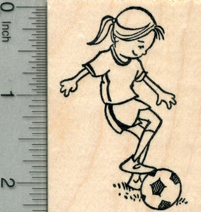 Soccer Player Rubber Stamp, Girl with Ball