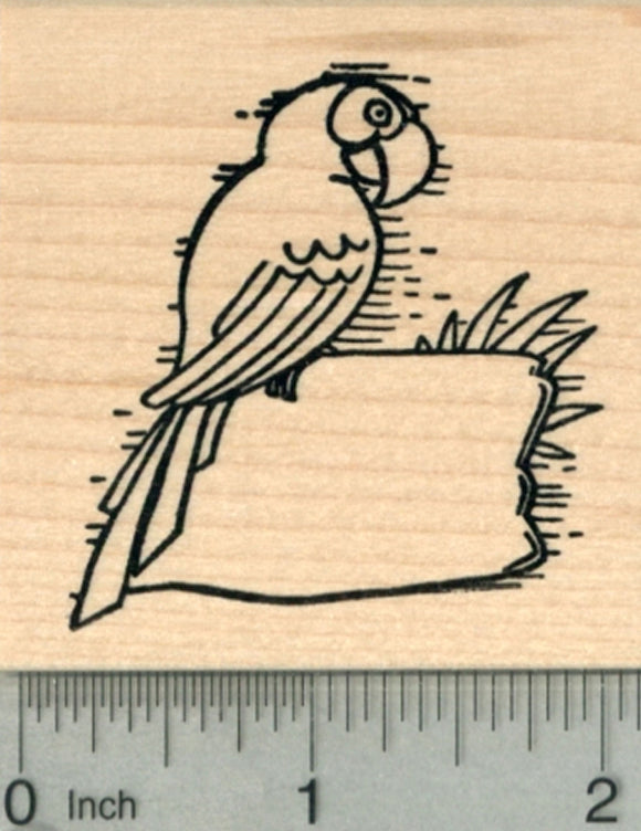 Parrot Rubber Stamp, Macaw with Blank Sign for Luau Party Series
