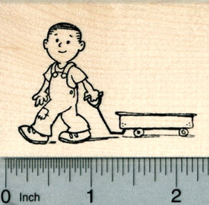 Boy with Wagon Rubber Stamp, Active Child Series