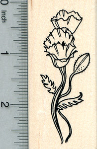 Poppy Flower Rubber Stamp, Remembrance Series (of Veterans, Memorial Day)