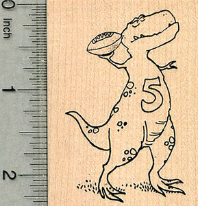 American Football Dinosaur Rubber Stamp, T-rex with Ball